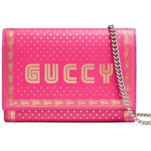 Gucci Guccy Logo Moon & Stars Leather Wallet chain